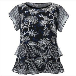 CAbi 5355 Hybrid Blue Floral Tiered Ruffle Blouse